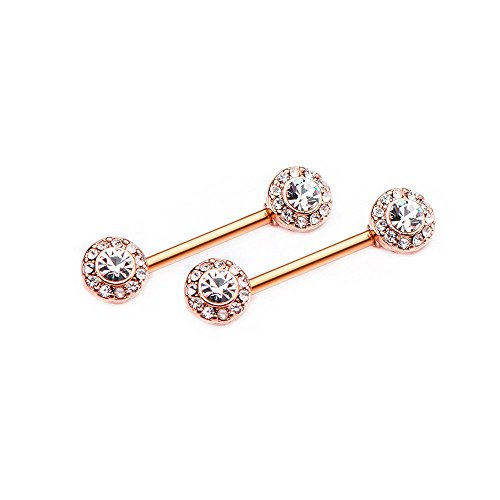 EG GIFTS Straight Barbell Nipple Rings Bars 14Gauge 16mm CZ Flower Bead (Anodized Rose Gold)