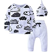 Youthny Baby Girls Boys Clothing Sets Cartoon Graffiti Cloud Tops Hats White Pants 3 PCS for Infant,Toddler and Child