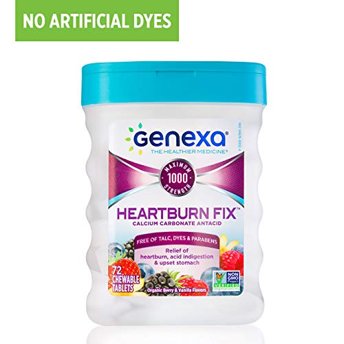 Genexa Heartburn Fix | Calcium Carbonate Antacid, Non-GMO Certified Gluten-Free & Certified Vegan | Free of Talc, Dyes & Parabens | 72 Tablets (Best Antacid For Lpr)