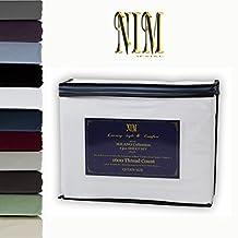 NIM Textile Luxury 1600 TC Softness Deep Pocket 4pc Bed Sheet Sets MILANO Collection - White, Full