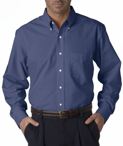UltraClub Men's Wrinkle-Free Long Sleeve Oxford Shirt