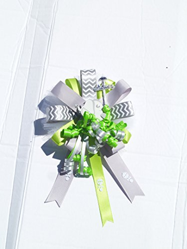 Mod Mom Theme - Mod Mommy Green and Gray Elephant Chevron themed Baby Shower Jungle Safari Corsage Modern Mom to Be(Green and Gray Elephant)