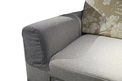 Zipcase Couch/Sofa Armrest Covers for Armchairs, Loveseats and Sofas, Set of Two (Dark Grey) with 12 Upholstery pins