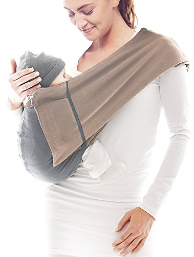 Wallaboo Baby sling Connection, Easy Adjustable and Ergonomic, Newborn and Up,100% Cotton, Taupe / Grey