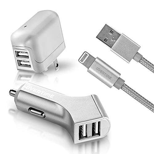 Apple MFI Certified Lightning USB iPhone Charger Kit - Wall & Car Charger Adapter Plus 6ft Lightning Cable for iPhone X, XS, XS Max, XR, 8 iPad Pro, Air, Mini