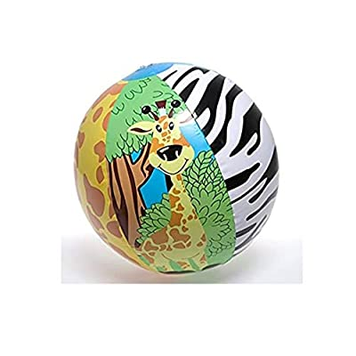 "~ 3 ~ Zoo Animal Beach Balls ~ 16"" Before Inflated ~ New ~ Zebra, Tiger, Giraffe, Safari Animal Party Favors, Jungle Animals, Wild Animals: Toys & Games"