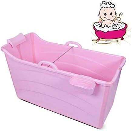 折りたたみバスタブ GYF 折りたたみ大人用浴槽 ポータブルプラスチック浴槽 座るカバー付き ホームアダルト 子供用入浴浴槽ベビースイミングビッグタブ 2色ホーム折りたたみ大人用バスタブ (Color : Pink)