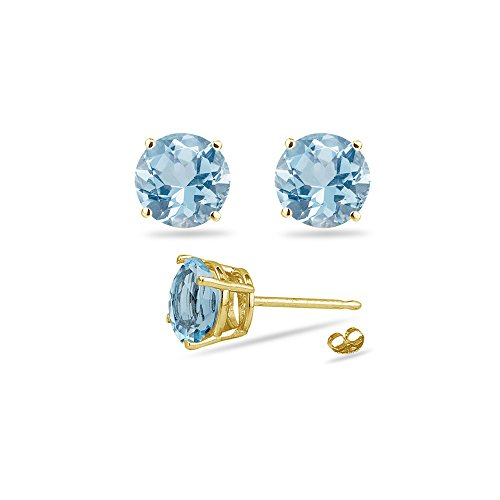 After Christmas Discounts - 2.10-2.50 Ct 7 mm AA Round Aquamarine Stud Earrings in 18K Yellow Gold by Vogati
