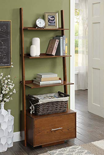Convenience Concepts 8043491DWN American Heritage Ladder Bookcase with File Drawer, Dark Walnut,
