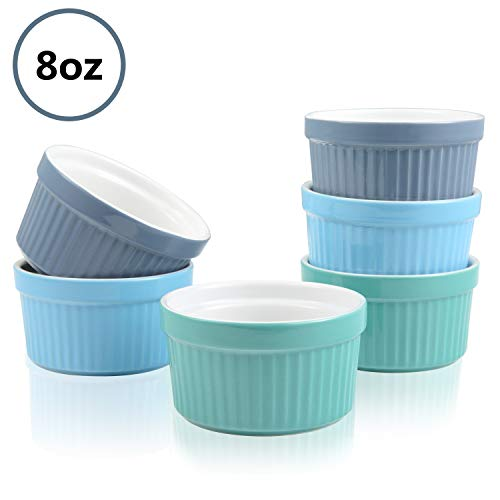 8oz Ramekins Porcelain Souffle Dishes Ceramic Baking Cups Custard Cups for Pudding, Creme Brulee, Ice Cream, Cooking, Set of 6, Assorted Colors