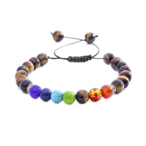 Tiger Brown Bracelet - WILLOWBIRD Men/Woman Genuine Multi Color Agate 8mm Stone Healing Style Yoga Bead Adjustable Bolo Tigers Eye Bracelet for Women/Men (Brown Tigers Eye)
