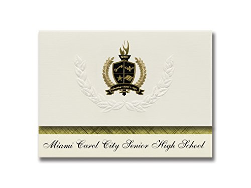 Signature Announcements Miami Carol City Senior High School (Miami Gardens, FL) Graduation Announcements, Presidential Elite Pack 25 with Gold & Black Metallic Foil seal]()