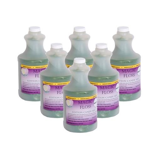 4 lbs Magic Floss Sugar in Easy Pour Bottle (Set of 6) Flavor: Green Apple