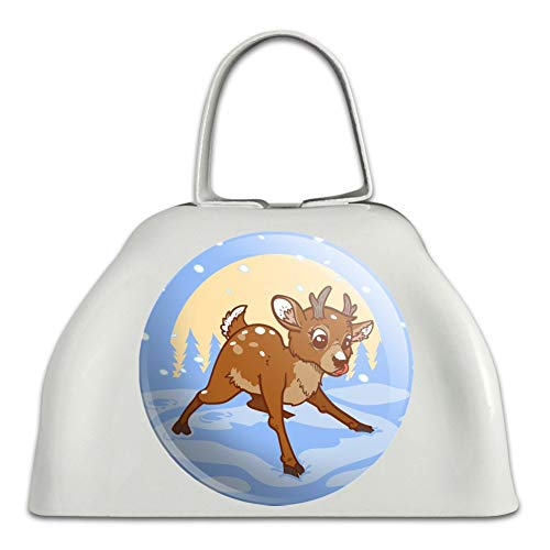 Baby Reindeer Christmas Holiday White Metal Cowbell Cow Bell Instrument