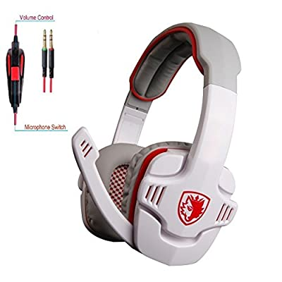 SADES SA-708S White Stereo PC Headset Headphone with Microphone, Gaming Headsets Headphones For PC Laptop iPad iPod -(White&Red) by SHENZHEN SADES DIGITAL TECHNOLOGY CO.,LTD