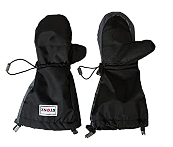 Stonz Mittz The Canada Mittens - Cold Weather Gloves and Big Kid Mittens for Toddlers with 3M Thinsulate - Black/Grey (4-8+ years)