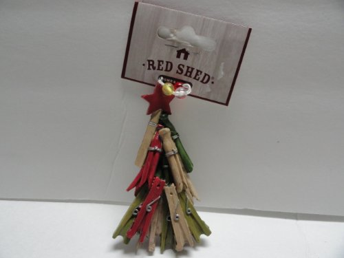 Red Shed Clothespin Tree Ornament With A Star