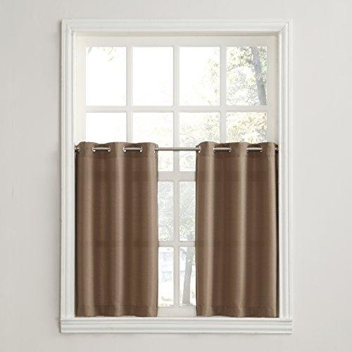 - No. 918 Montego Grommet Textured Kitchen Curtain Tier Pair, 56