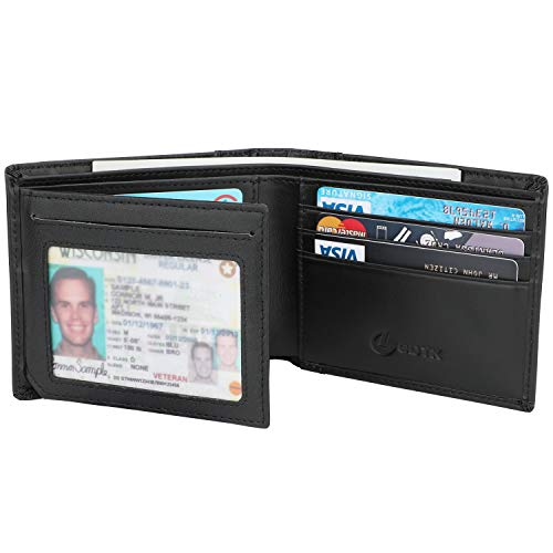 (Men's Wallet - RFID Blocking Cowhide Leather Vintage Trifold Wallet (Black - Smooth Napa)
