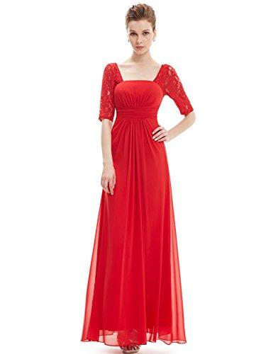 Lang 08038 Elegant Abendkleid Rot Party Damen Halbarm Pretty Ever 4TZnw7qPw