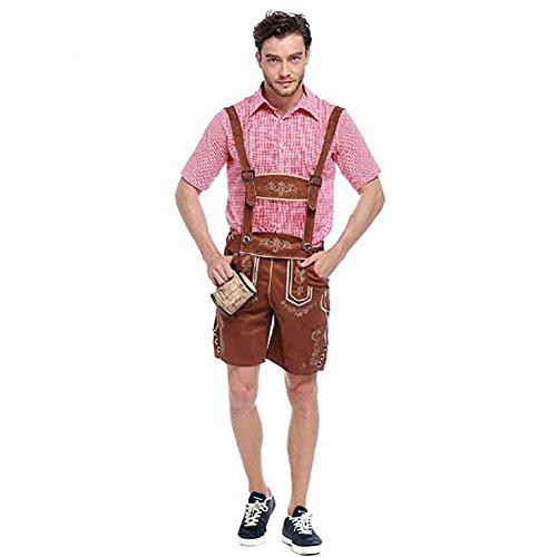 Costour Herren Oktoberfest Kurz- Lederhose mit Träger Trachtenhemd Echtleder Trachtenhose Kostüme Trachtenmoden Karneval