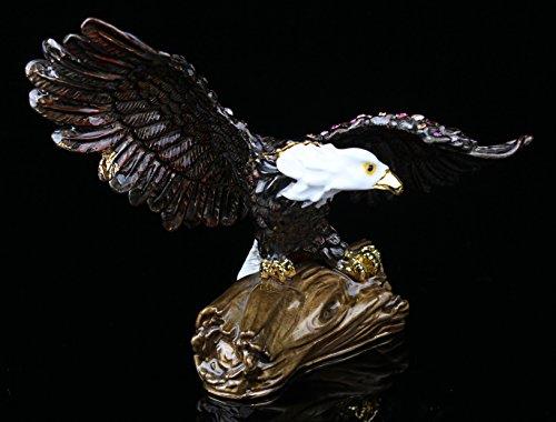 - znewlook Bald Eagle Trinket Box Bejeweled Figurine Bejeweled Enamled Eagle Hinged Pill Box