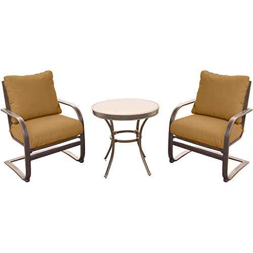 Hanover SUMRNGTDN3PCGSP Summer Nights Chat Set with 2 C-Spring Chairs and A 30″ Glass-Top Table (3 Piece) (Pack of 3), Tan Review