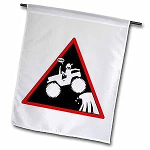 Mark Grace SCREAMNJIMMY Cars - DUDES GOT AIR CAR warning triangle 1 on white - 12 x 18 inch Garden Flag (fl_40039_1)