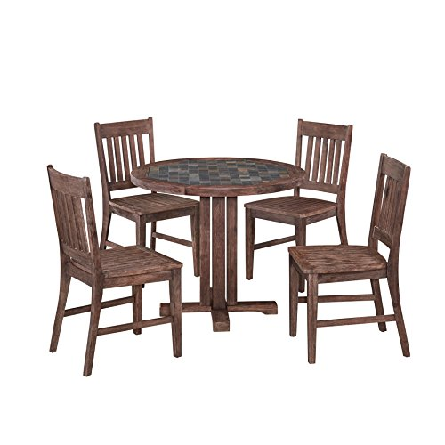 Home Styles 5601-329 Round Table and Four Arm Dining Chairs Morocco Set (5 Piece)