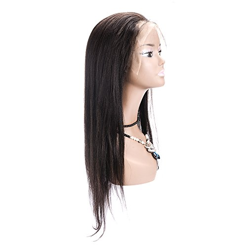 Amazon.com : 100% Hand-Tied Glueless Full Lace Human Hair Wigs for Black Women Yaki Long Real Brazilian Remy Virgin Hair Peluca 130% Density 240g 24 Inch, ...
