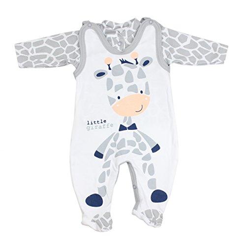 Baby Strampler mit Spruch I love Mum and Dad oder mit Aufdruck 2-tlg. Stramplerset mit Oberteil, Farbe: Giraffe, Größe: 68