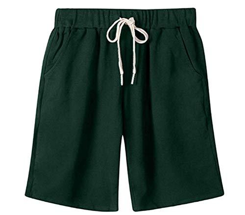 VtuAOL Women's Casual Elastic Waist Knee Length Bermuda Shorts with Drawstring Grass Green Asian 7XL/US 2XL