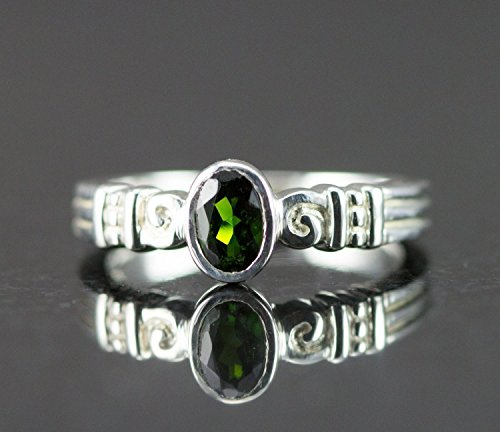 Chrome Diopside Ring Sterling Ring - Green Gemstone - Oval 4 x 6 mm - Size 7 ()