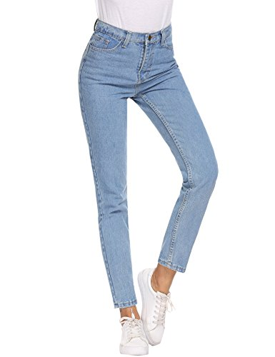 Women High Waisted Mom Jeans,Casual Straight-Leg Denim Pants (Jeans Womens Leg Straight)