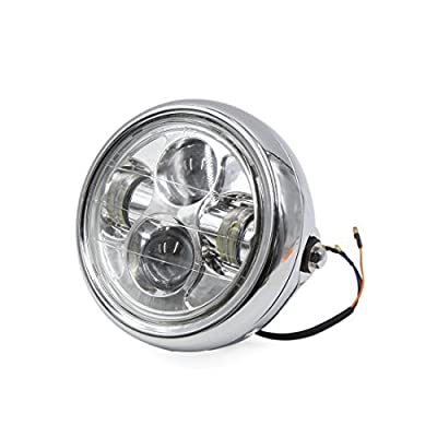 DealMux Universal Silver Tone Shell 7 Inch Motorcycle White LED Projector Headlight for Harley Davidson