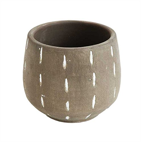 Creative Co-op Glazed Terracotta Planter with Hand
