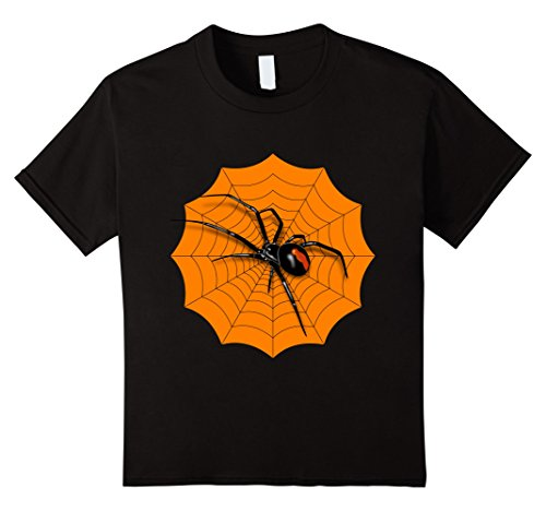 Kids Spider Web Halloween 2017 T-Shirt Red Back Widow Shirt 6 Black