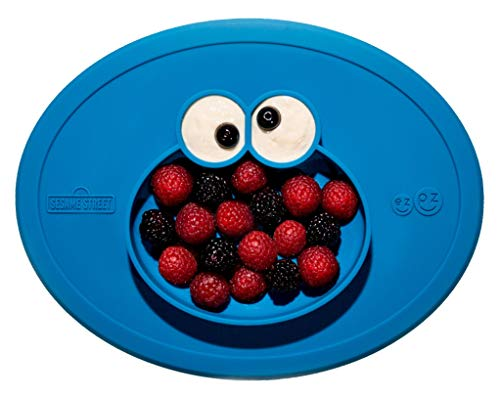 ezpz Sesame Street Cookie Monster Mat - One-Piece Silicone placemat + Plate (Blue) ()