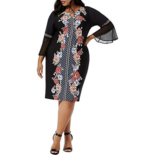 (JM Collection Plus Size Printed Flare-Sleeve Dress (2X))