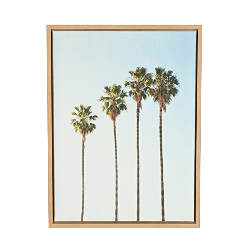 Kate and Laurel Sylvie Four Palm Trees Natural Framed Canvas Wall Art by Simon Te Tai (Of Trees Art Wall)