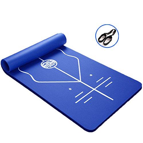 ヨガマットExtra Thickパープルwithボディ線形線、レディースFitness Mat withストラップ, 15 mm B07F7C97B7  ブルー 15mm