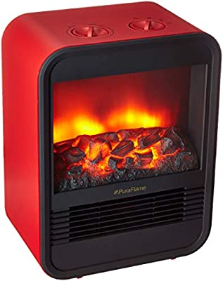 PuraFlame 1250W Clara Red 9 inch Mini Portable electric Heater