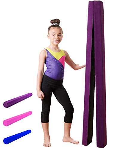 Gymnastics Balance Beam: Low Profile, Soft, Folding Floor Gymnastics Equipment for Kids| Suede Like Exterior, Non Slip Rubber Base for Training, Practice, Physical Therapy and Home Use - 10 Feet