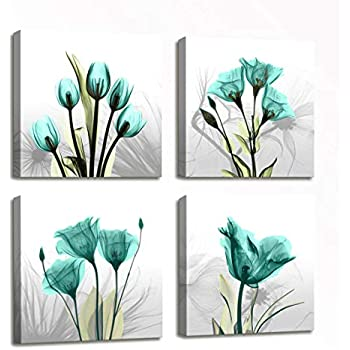 Large Canvas Wall Art for Living Room Wall Decor Floral Painting - 4 Panels Teal Elegant Tulip Flowers HD Photos Canvas Prints Wall Art Modern Framed Artwork for Home Bedroom Decor 16x16 inch 4pcs/set