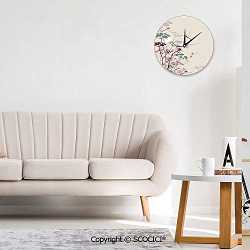 SCOCICI Modern Decorative Wall Clock - Plants and Petals with Dragonfly Soft Color Design Living Room Decoration Clock - Mute - Round Wall Clock, Home/Office/Classroom/School Clock (Size : 10 in)