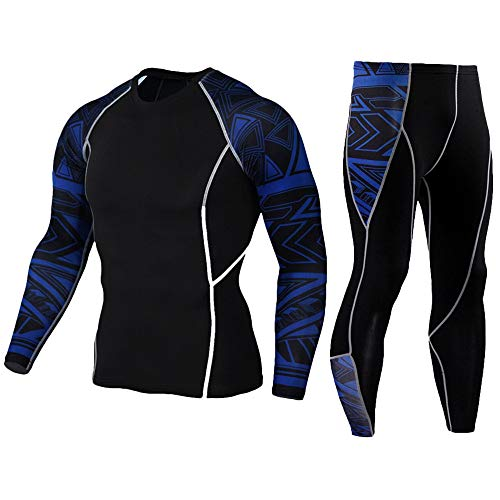 HEROBIKER Men's Workout Set Compression Shirt and Pants Top Long Sleeve Sports Tight Base Layer Suit Quick Dry Blue