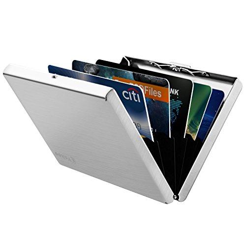 Vakoo RFID Blocking Kreditkartenhülle Kreditkartenetui Schutz Etui Glatte Edelstahl Kreditkartenhalter Visitenkartenhalter für Damen und Herren (Silber)