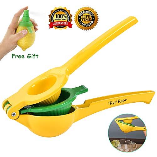 Lemon Squeezer Lime Citrus Juicer Hand Juicer Press Dishwasher Safe Lime Handheld Juicer Manual Bar Tools Kitchen Gadgets (Free Gift Lemon Sprayer) Review