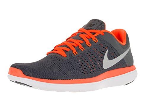 NIKE Men's Flex 2016 RN Running Shoe Dark Grey/Total Orange/Black/Metallic Silver Size 10 M US