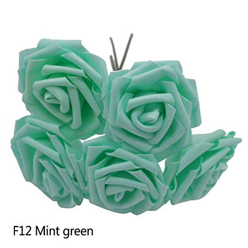 (entertainment-moment 10 Heads 5 Heads 8Cm Artificial Pe Foam Rose Flowers Bridal Bridesmaid Bouquet Wedding Home Decoration Scrapbook DIY Supplies,Mint Green,10 Heads)